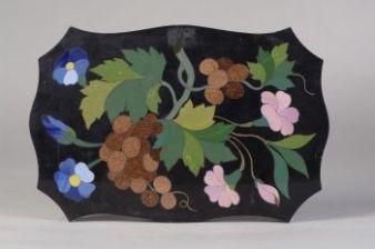 Pietro Bigaglia - Pietra a intarsio con fiori e grappolo d'uva (1856)