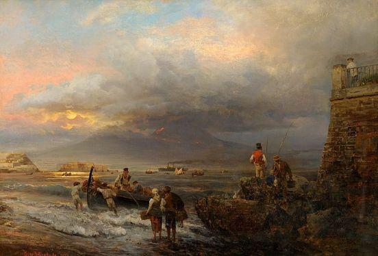Oswald Achenbach - Bucht von Neapel mit Blick auf den Vesuv
