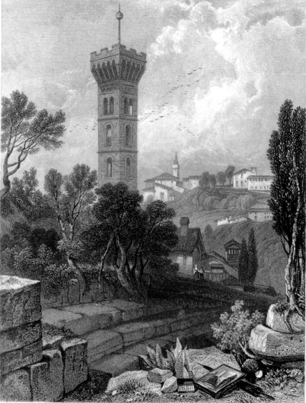 James Duffield Harding, Fiesole, 1833, Incisione