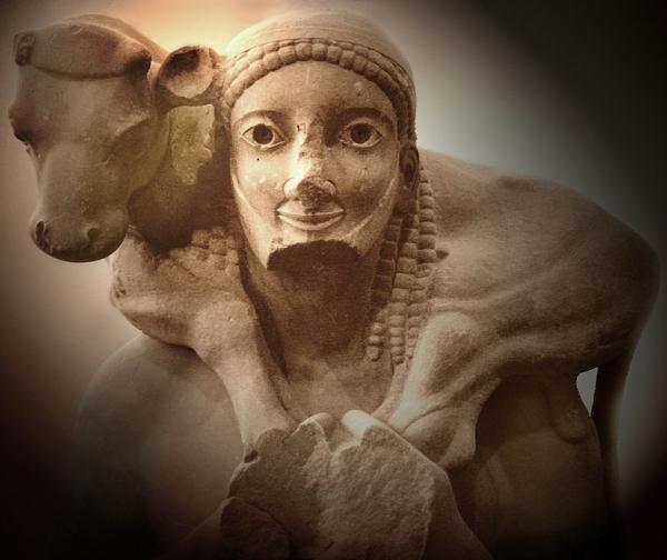 The Moschophoros, 570 a.C. circa, scultura, marmo dell'Imetto, Museo dell'Acropoli, Atene