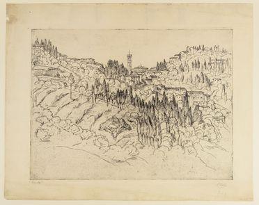 Emilio Mazzoni Zarini, Fiesole, 1943, Acquaforte