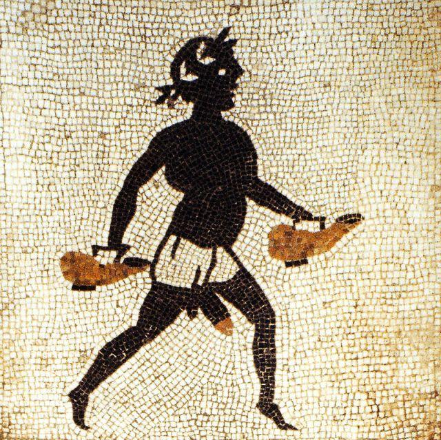 Servo nero che porta recipienti di acqua, Mosaico, Calidarium, Casa di Menandro, Pompei,