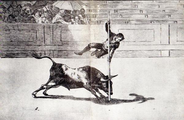 Francisco Goya - Agilità e audacia di Juanito Apinani nell'arena di Madrid, 1816, acquatinta a inchiostro