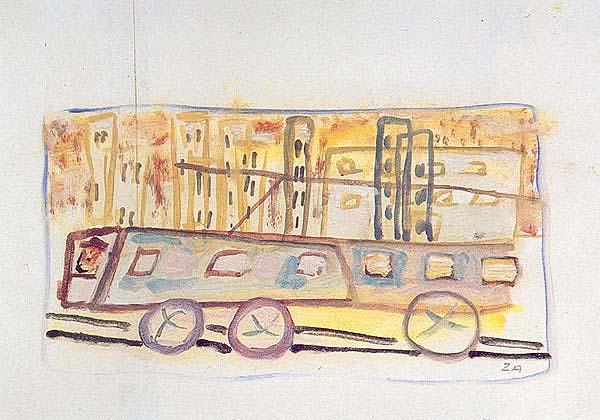 Cesare Zavattini, Filobus e città, 1943; cm. 18x26,5; Olio su cartoncino