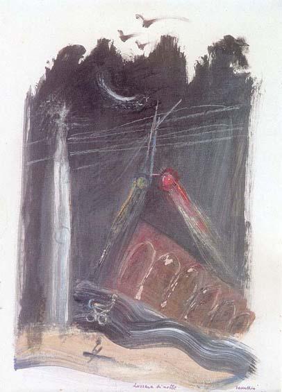 Cesare Zavattini, Luzzara di notte, 1977; cm. 70x50; Tecnica mista su tela