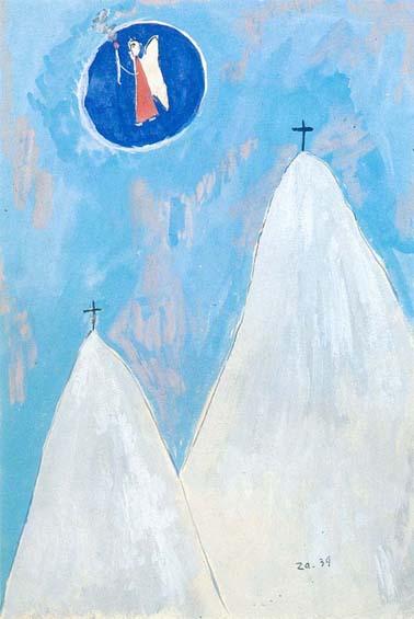 Cesare Zavattini, Montagne bianche con angelo, 1939; cm. 31x21; Tempera su cartoncino