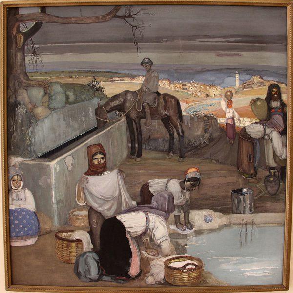 Giuseppe Biasi, Mattino in un villaggio sardo (1912)