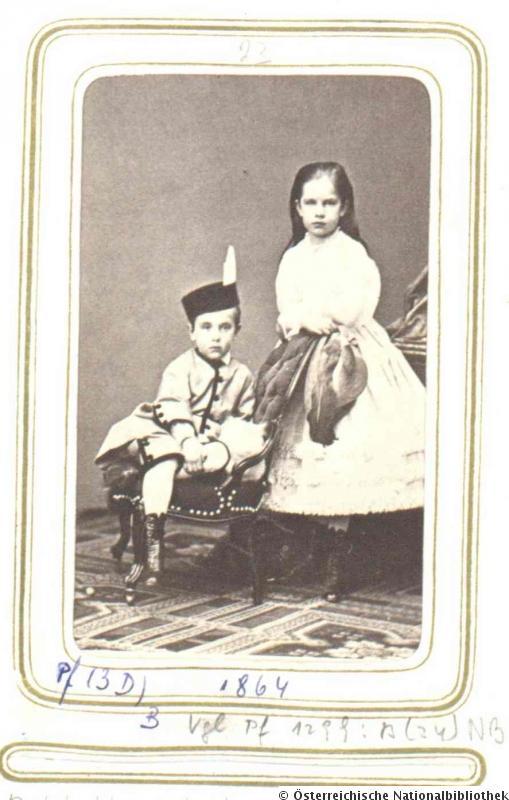 Ludwig Angerer, Rudolf, Kronprinz von Österreich mit Schwester Gisela, 1863
